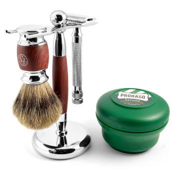 Conjunto de Barbear em Madeira de Pau-Rosa