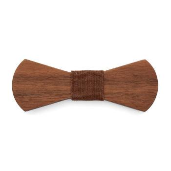 Pajarita de madera marrón nogal