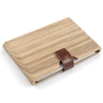 Tarjetero sólido de madera estilo cebra