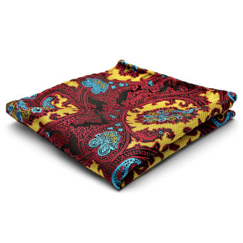 Pañuelo de bolsillo de seda con estampado en burdeos