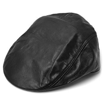 Gorra de caza Sixpence cuero negro mate