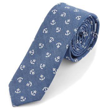 Corbata azul con anclas