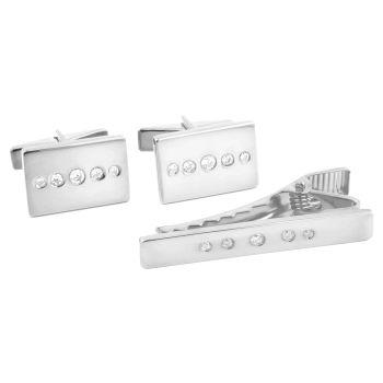 925 Zilveren Set met Korte Dasspeld en Zirconiaknopjes