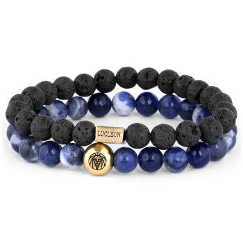 Blaues Achat & Lava Miro Armband