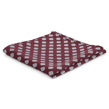 Pañuelo de bolsillo de seda burdeos geométrico