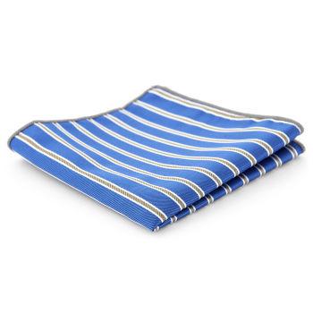Pañuelo de bolsillo a rayas azules y doradas
