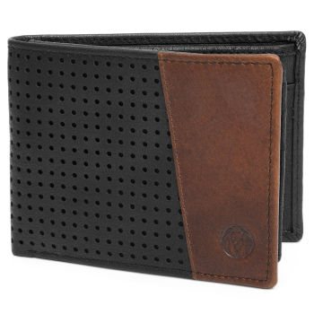 Montreal Dotty Black & Tan RFID Leather Wallet