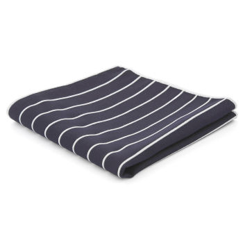Pañuelo de bolsillo azul marino a rayas