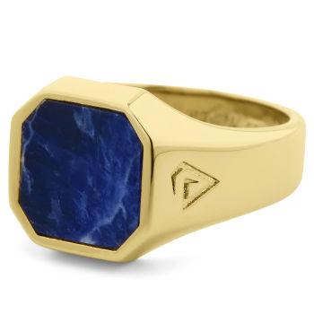 Blauer Siegelring aus 925er Gold