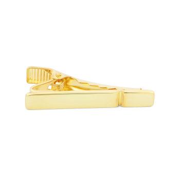 Kort Guld 925s-Slipsenål med Enkelt Rille