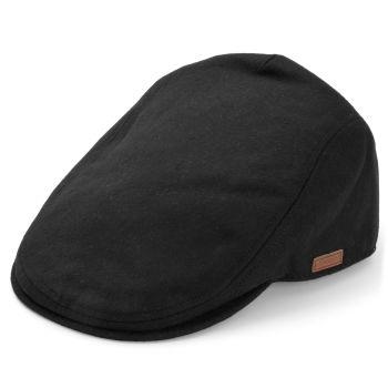 Gorra plana negra de lana y poliéster