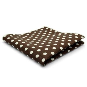 Pañuelo de bolsillo de algodón marrón con lunares