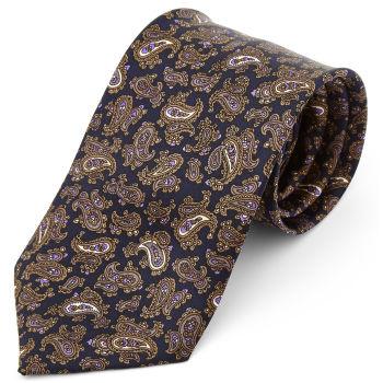 Corbata ancha de seda marrón y morado con estampado de cachemira