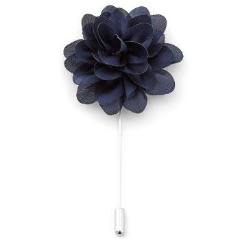 Elegancka szpilka do marynarki - granatowy kwiat