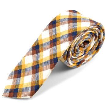 Corbata de lana a cuadros escoceses en dorado y marrón