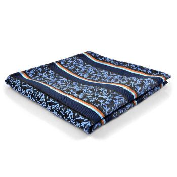 Pañuelo de bolsillo azul estampado