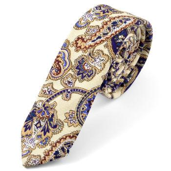 Corbata crema con diseño de cachemira