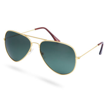Óculos de Sol Polarizados em Dourado & Verde Escuro Estilo Aviador