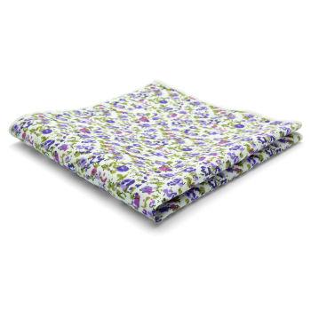 Pañuelo de bolsillo de algodón con flores púrpura