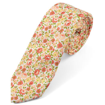 Corbata en algodón con flores naranja