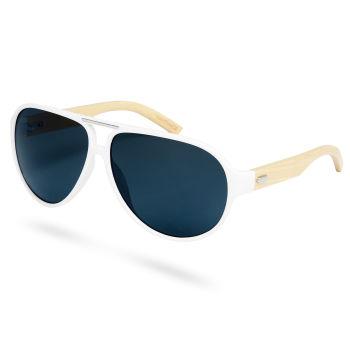 Gafas de sol ahumadas en blanco y madera de bambú