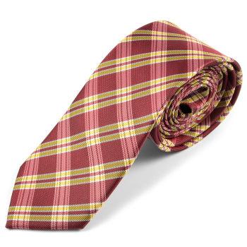 Corbata de microfibra a cuadros rojos y dorados