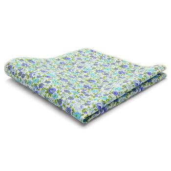 Pañuelo de bolsillo de algodón con flores azules