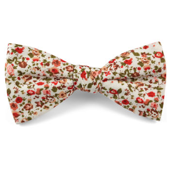 Pajarita con flores rojas en algodón