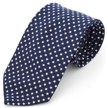 Corbata ancha de poliéster azul marino con estrellas