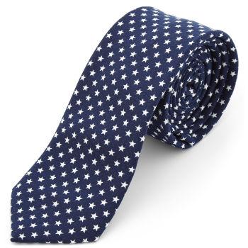 Corbata de poliéster azul marino con estrellas