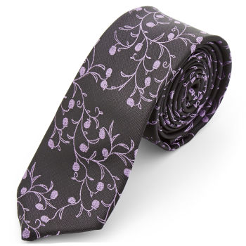 Corbata de poliéster berenjena y lavanda