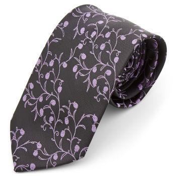Corbata ancha de poliéster berenjena y lavanda