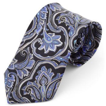 Corbata ancha de seda barroca azul