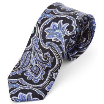 Corbata de seda barroca azul