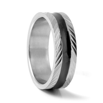Black Feathered Steel Ring
