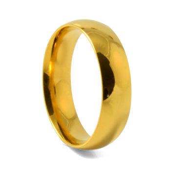 Anel Dourado em Aço Inoxidável de 6 mm