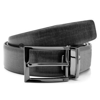 Cinturón de cuero gris