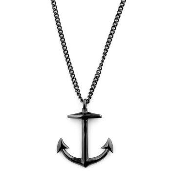 Black Anchor Necklace