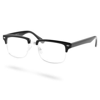 Óculos Vintage Transparentes Prateados & Pretos