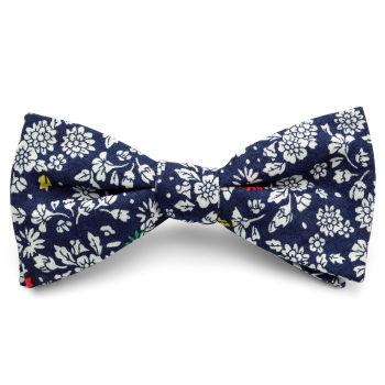 Pajarita de algodón azul con diseño de flores