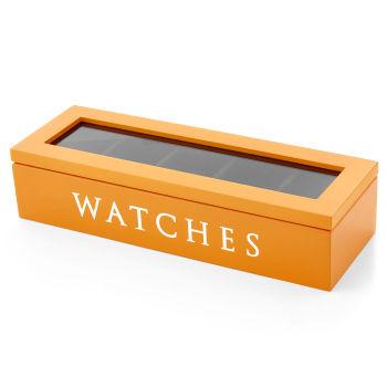 Pomarańczowe drewniane pudełko na 5 zegarków