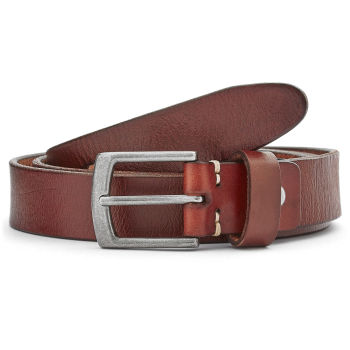 Slim Mahogany Brown Leather Belt