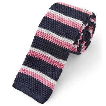 Corbata de punto rosa y azul