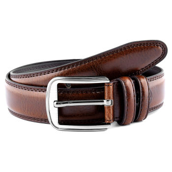 Cinturón de piel marrón rojizo para vestir