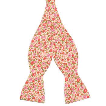 Pajarita para atar de algodón con estampado de flores en rosa y rojo