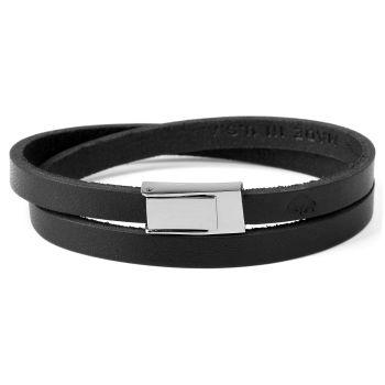 Schwarzes 2-Fach Leder Wickelarmband