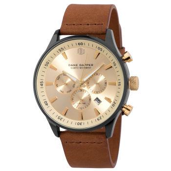 Goudkleurig Troika Horloge met Bruine Band en Zwarte Bezel