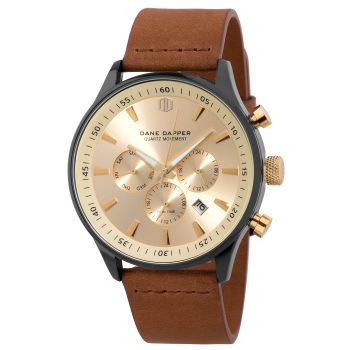 Brown, Gold-Tone & Black Bezel Troika Watch