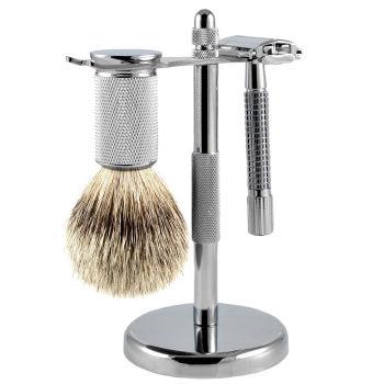 """Conjunto de barbear com Pêlos de Texugo """"Silvertip"""""""