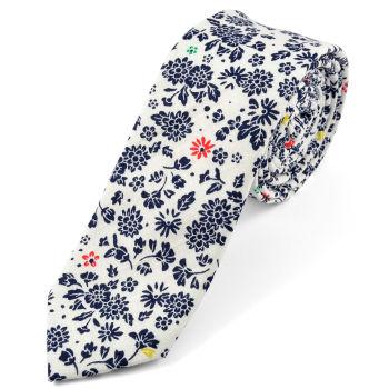 Corbata en algodón diseño floral blanca y azul